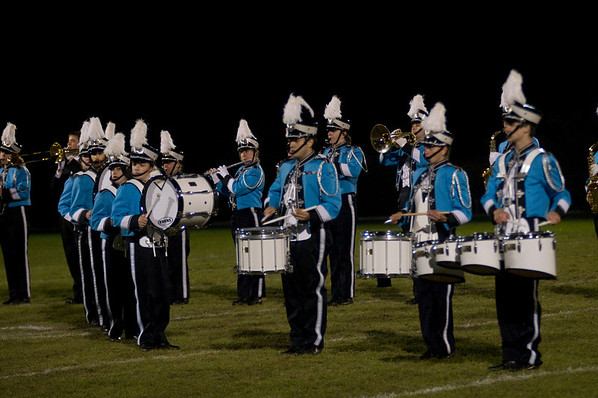 """Byfield: The Triton high school marching band performs songs from """"The Sound of Music"""" at the half time of the Vikings game against Masco Friday night. Jim Vaiknoras/Staff photo"""