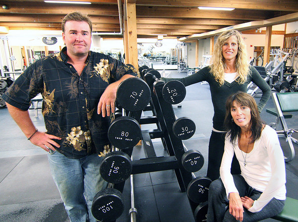 Newburyport: Craig Annis, owner of Vanguard Gym on Merrimac Street, along with his new tennants, Jeanne Carter and Julie Bokat of FUEL Training. Photo by Ben Laing/Staff Photo