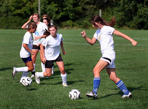 Newburyport: Members of the Newburyport girls soccer team train at Fuller Field Wednesday as they prepare for their season opener Saturday night. Photo by Ben Laing/Staff Photo