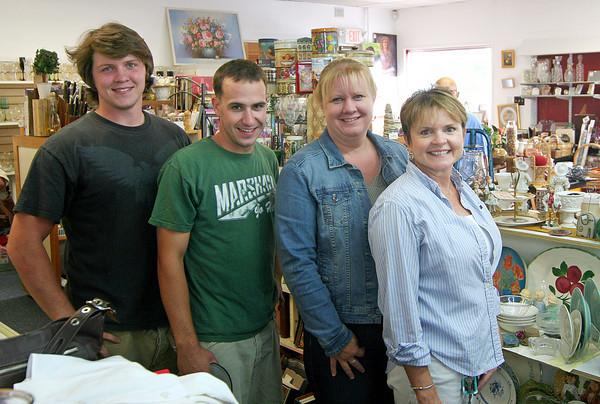 Salisbury: From left, Patrick Werner, Ryan Finnegan, Lori Brasseur, and Shana Werner of the Leeward Light Thrift Shop in Salisbury. Photo by Ben Laing/Staff Photo