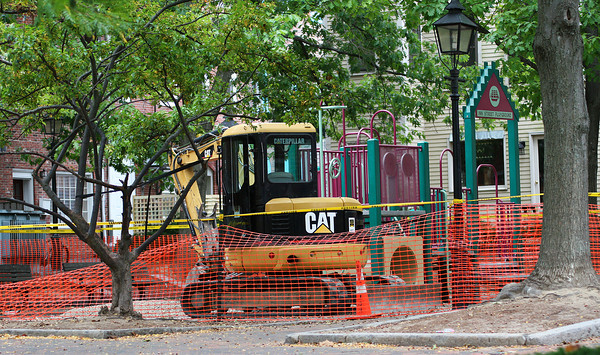 Newburyport: Construction equipment and temporary fencing have been set up at the tot lot on Inn Street in downtown Newburyport as repairs to the playground are underway. Photo by Ben Laing/Staff Photo