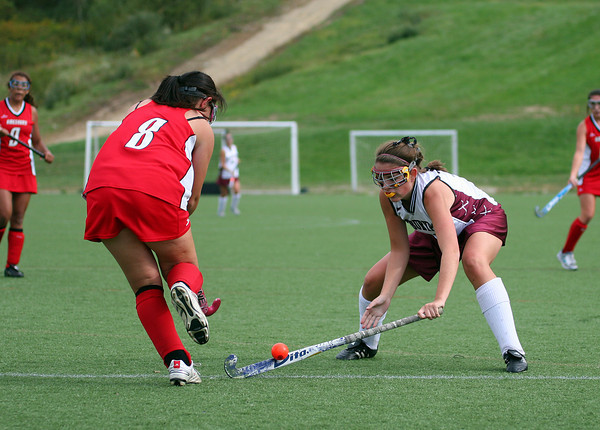 Amesbury: Newburyport's Molly Rowe (16) steals the ball from Amesbury's Macauley Moscato (8) during Thursday's game. Photo by Ben Laing/Staff Photo