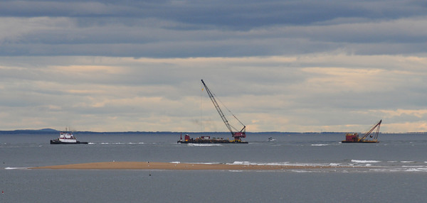 Salisbury: Dredging equiptment in the mouth of the Merrimack River. Jim Vaiknoras/Staff photo