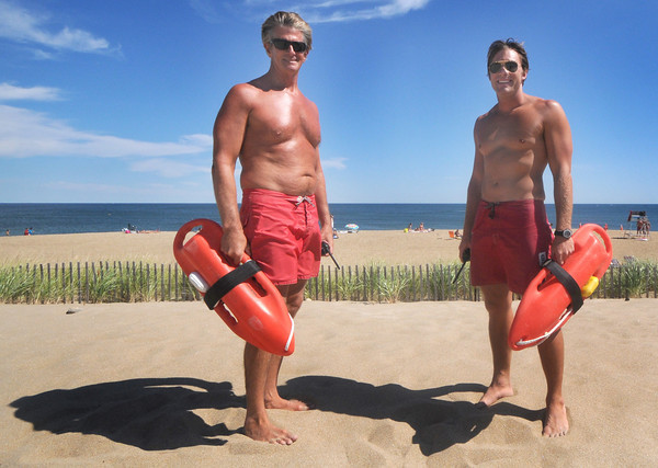Salisbury: Salisbury Beach lifeguards  George Nigro and Fletcher Wasson on the beach as there last few days on the job wind down. Jim Vaiknoras/Staff photo