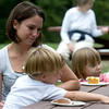 Newburyport: Ana Graves with her neice and nephew james and Madiline Graves of Rowley enjoy some cake at the 25th anniversary of Maudslay State Park celbration Sunday. Jim Vaiknoras/Staff photo