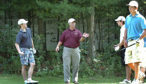 Rowley: New Newburyport High golf coact Steve Malenfant talks with the team Thursday at Carriage Pines in Rowley. Bryan Eaton/Staff Photo