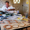 Newbury: Artist Michael Updike works in his Newbury kitchen. Bryan Eaton/Staff Photo