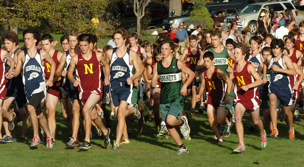 Hamilton: Newburyport, Hamilton-Wenham and Manchester-Essex boys cross country team starts out. Bryan Eaton/Staff Photo
