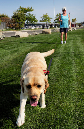 Newburyport: Elaine Lacourse, owner of Anytime, Anywhere Pet Sitter in Salisbury keeps a client's dog, Boomer, on a long leash while walking at Cashman Park yesterday. Mayor Holaday wants to open sections of some parks, at certain times, for free reign dogs. Bryan Eaton/Staff Photo
