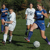 Byfield: Triton's Nicole Godfrey defends against Georgetown's Coley DeMaio yesterday in Byfield. Bryan Eaton/Staff Photo