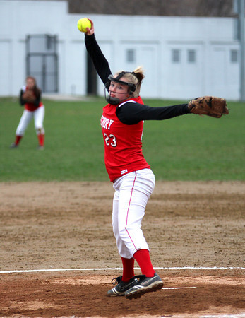 Amesbury: Carolina Merrill (23) delivers a pitch for Amesbury during Wednesday's game against visiting North Reading. Photo by Ben Laing/Staff Photo