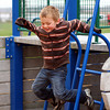 Newburyport: Liam Londergan, 5, of Newburyport, jumps off a piece of playground equipment at Cashman Park Monday afternoon. Despite the cloudy weather, Liam and his mom made a trip to the playground for some fun before the rain resumed. Photo by Ben Laing/Staff Photo