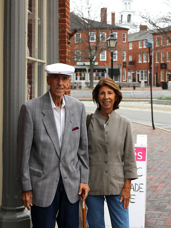 Newburyport: John Lagoulis and his daughter will be starting a scholarship for future Newburyport High School graduates. Here they stand in front of 14 Market Square, which used to be the location of John's father's restaurant, and now houses Souffles. Photo by Ben Laing/Staff Photo