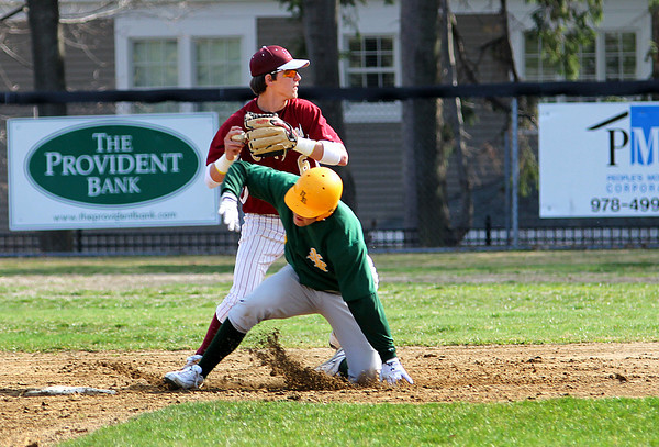 Newburyport: Newburyport's Brett Fontaine (6) starts the double play as the Clippers hosted North Reading Thursday afternoon. Photo by Ben Laing/Staff Photo