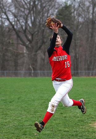 Amesbury: Amesbury shortstop Amanda Schell (16) chases down a foul ball during Wednesday's game against North Reading. Photo by Ben Laing/Staff Photo