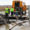 Newburyport: The Newburyport Water Department works to repair a burst water main on Plum Island Turnpike Wendesday afternoon. The burst left Plum Island without water for several hours. Photo by Ben Laing/Staff Photo