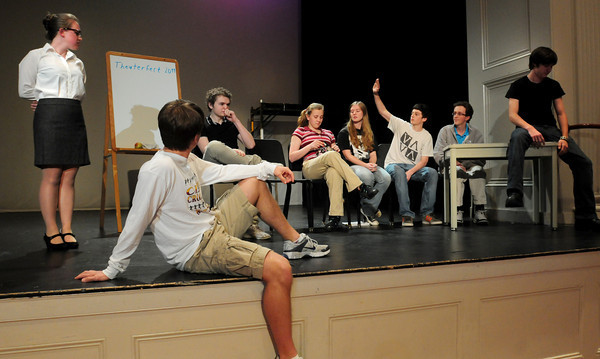 Newburyport: Newburyport High advanced German language students perform an improvisational play for classmates on Wednesday. They have been participating in a German Theatre Fest for 12 years and will be at Mount Holyoke today to perform at that event. Bryan Eaton/Staff Photo