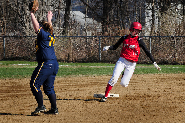 Amesbury: Amesbury's Amanda Schell rounds second base on a triple yesterday against Lynnfield. Bryan Eaton/Staff Photo