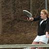 Amesbury: Amesbury tennis player Stephanie Abraham in practice with teammate Samantha Smith. Bryan Eaton/Staff Photo