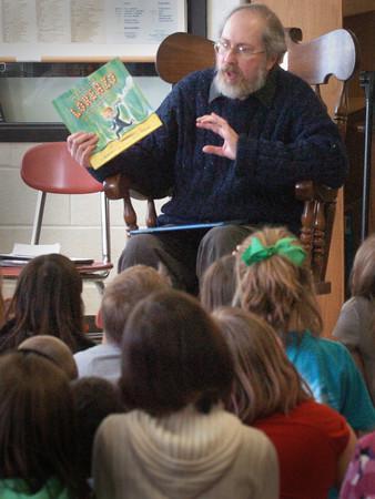 Amesbury: Newburyport author Mark Karlins speaks with third-graders at Amesbury Elementary School on Friday. School librarian Paula Brown arranged the presentation on the wonders of story writing. Bryan Eaton/Staff Photo