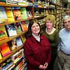 Newburyport: From left, Liz Schneider, Melinda Everett and Bob Halpert of the Middle Street Book Store in Newburyport. Bryan Eaton/Staff Photo
