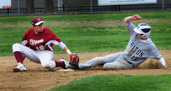 Newburyport: Triton's Dan Cashman slides to Newburyport second baseman Coltin Fontaine as he's deemed safe on the steal. Bryan Eaton/Staff Photo