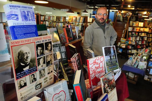 Newburyport: Paul Abruzzi of Jabberwocky near the book store's display promoting the Newburyport Literary Festival. Bryan Eaton/Staff Photo