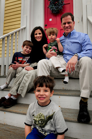 Newburyport: Patrick Skiba, 4, flanked by mom, Candi, dad, Chris and brothers Joseph, 6, left, and Thomas, 2. Bryan Eaton/Staff Photo