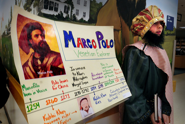 Amesbury: Push a button and Marco Polo, a.k.a. Jeremy Isabelle, 10, comes to life to tell the story of the explorer. Fifth-graders at the Cashman School brough characters from history to life at their annual Wax Museum.  Bryan Eaton/Staff Photo