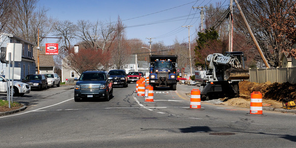 Salisbury: The intersection of School Street and Route One in Salisbury Square is being reconfigured to dedicate a right-hand only lane turning south towards Newburyport for traffic coming from Route 110. Bryan Eaton/Staff Photo