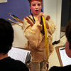 Amesbury: Jason Gagnon, 10, tells the story of Squanto as fellow students take notes at the Cashman School in Amesbury yesterday  morning. Fifth-graders researched people from history and then dressed the part to make a presentation to fellow students and parents at their Wax Museum. Bryan Eaton/Staff Photo