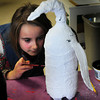 Amesbury: Haven Murray, 7, paints the paper mache penguin she created in Liz Morris' first grade class at Amesbury Elementary School on Monday afternoon. The children were finishing up a unit on the Arctic and Anarctic regions. Bryan Eaton/Staff Photo