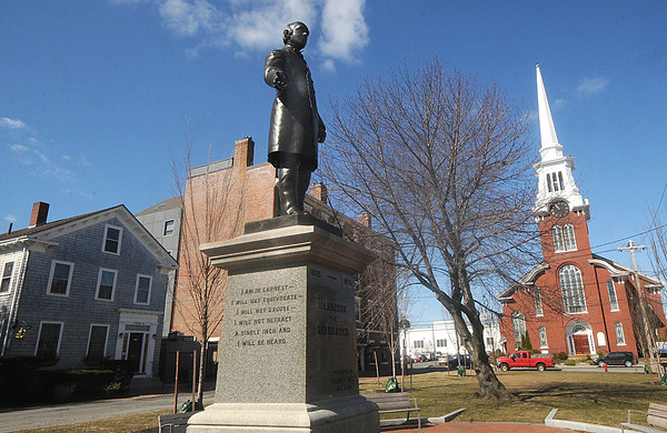 Newburyport: Garrison statue in Brown Square in Newburyport. Jim Vaiknoras/Staff photo