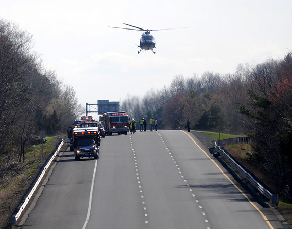 merrimac: A Medflight copter land on the north bound lane of Rt 495 in Merrimac Friday afternoon. Two copters were needed to transport injured from the scene. jim Vaiknoras/Staff photo