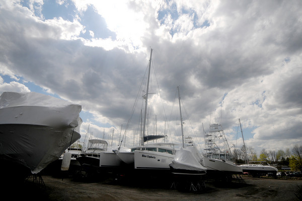 Newburyport: Boats wait in the Windword Shipyard in Newburyport. Jim Vaiknoras/Staff photo