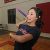 Amesbury: Amesbury high 's Vanessa LeBlanc throws a turbo javelin during practice in Amesbury high gym. A turbo javelin is used indoors, it is made of plastic and has a soft point. Jim Vaiknoras/Staff photo