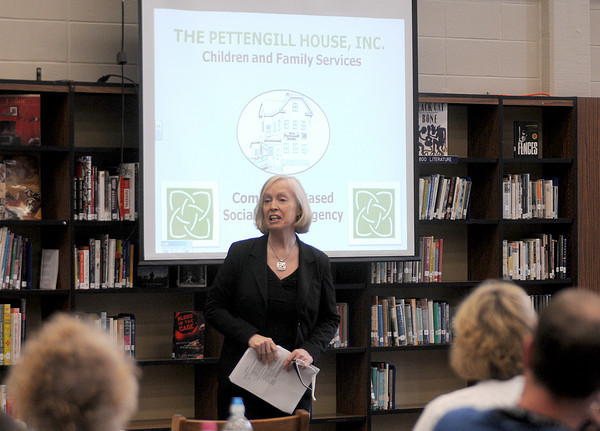 Byfield: Pettengill House Director Deb Smith speaks at a seminar at Triton high school in Byfield Friday. Jim Vaiknoras/Staff photo