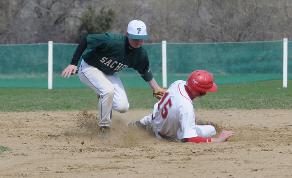 Boxford: Masco's Jason Katz is tagged out attempting to steal 2nd by  Pentucket's Josh Cream during their game Saturday at Marsco. Jim Vaiknoras/Staff photo