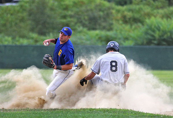 Rowley: Anthony Conte, second baseman for the Rowely Rams is taken out after apply the tag to a Hamilton baserunner during Monday afternoon's game at Erias Field. Photo by Ben Laing/Staff Photo