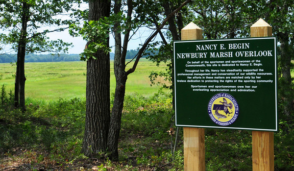 Newbury: Over 50 people attended a ceremony marking the Nancy E. Begin Newbury Marsh Overlook on Hay Street in Newburyport. The artist is a strong supporter of land conservation efforts and rights of the sporting community. Bryan Eaton/Staff Photo