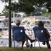 "Newburyport: Rose and Maurice Desrosier of Methuen check out the river traffic on the Merrimack River in downtown Newburyport on Wednesday afternoon. They come to the city a couple times a month and call it their ""get away place."" Bryan Eaton/Staff Photo"