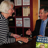 Newburyport: Sue Mackay of Newburyport waited 45 minutes to be first in line at Jabberwocky to get a copy of Senator Scott Brown's book signed by him last night. Bryan Eaton/Staff Photo