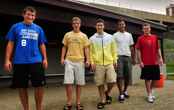 Newburyport: Leaving the Newburyport High dugout for good, these players are heading to their first year of college, from left, Ryan O'Connor, Pete Furlong, Will Habib, Drew Carter and Sam Barlow. Bryan Eaton/Staff Photo