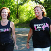 """Lori Elwell, left, and Heather Berns are involved in a calendar titled. """"Heroes of Hope."""" The calendar features stories and photos of locals who have battled, or are battling breast cancer, among them, Heather, who lives in Newburyport with Elwell as the designer. Bryan Eaton/Staff Photo"""