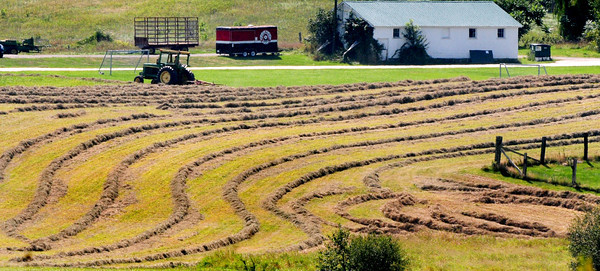 Amesbury: A tractor operator uses a tedder to spread hay around in maze-like rows at Woodsom Farm in Amesbury in a view from Whitehall Road. The hay is spread around several times and the week is ideal for such with no serious rain likely until the weekend. Bryan Eaton/Staff Photo