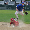 Rowley:Rowley's Anthony Conti jumps over a Rockport player to turn a double play  during their game at Eiras Field in Rowley Saturday. Jim Vaiknoras/Staff photo