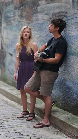 Newburyport: Folk Duet Maudsley consisting of Ashley Plante and Joe Bernardi, the pair will be busking though Europe later this summer. Jim Vaiknoras/Staff photo