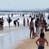 Salisbury: Beach goers cool off on a hot crowded Salisbury Beach Thursday afternoon. Jim Vaiknoras/Staff photo