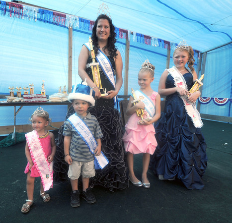 Seabrook: Baby Seabrook, Taylor Randall and Anthony Richard Matynka, Miss Seabrook Kayla O'Neill, Little Miss Seabrook Maesyn Marshall, and Jr Miss Seabrook Taylor Eaton, pose with their trophies at Old Home Days Saturday at Seabrook Elemetary School. Jim Vaiknoras/Staff photo
