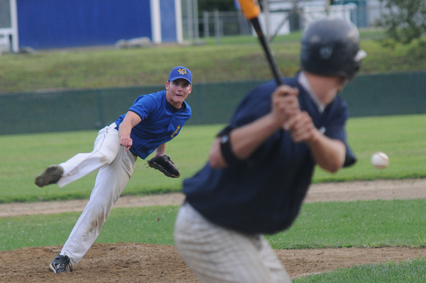 Rowley: Rowley's Kyle McElroy pitches agianst Manchester during their game at Eiros Field in Rowley. Jim Vaiknoras/Staff photo